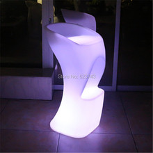 цена на Plastic illuminated multi color bar furniture rechargeable LED cocktail coffee High barstool led bar chair with remote control