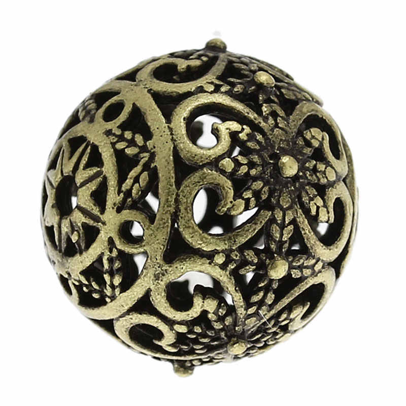 DoreenBeadsCopper A Filigrana Del Distanziatore Perline Rotonda Bronze Antico Del Fiore Hollow Intagliato FAI DA TE Fabbricazione Dei Monili Circa 17mm x 16mm, 1 pezzo