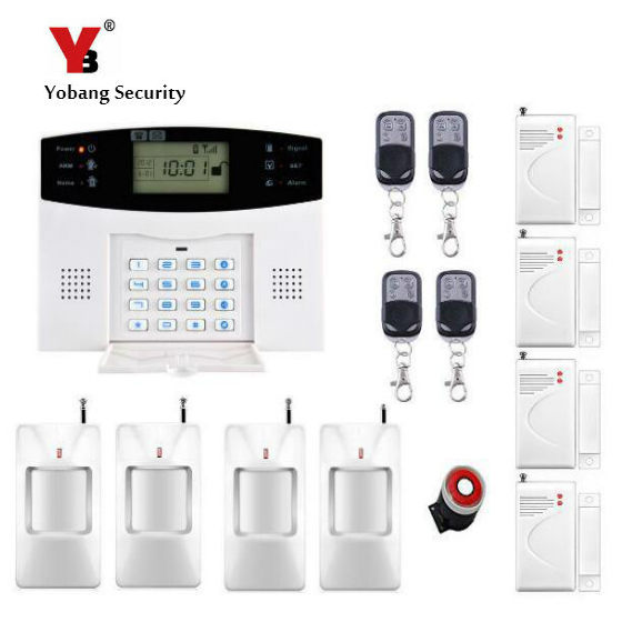 YoBang Security Russian English Spanish LCD Home Security Alarm System GSM Metal Remote Control Alarm Sensor PIR Sensor .