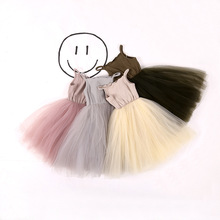 Tulle Ball Sleeveless Girl Dresses Sequins Princess Children Baby Clothing Lace Party Gown Fancy Dresses Kids Birthday 2-8Y