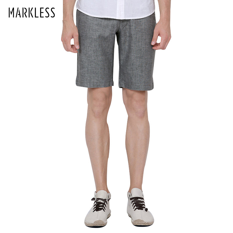 Markless Summer Linen Men Shorts Business Style Male Casual Knee-length Commercial Thin Shorts Pantalones cortos para hombres