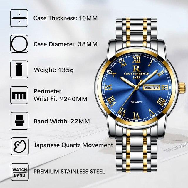 Stainless steel Waterproof Business Date Analog Wrist watch 4