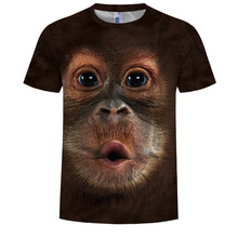 Summer mens shirt T-shirt monkey 3D digital printing male fashion young manufacturer wholesale