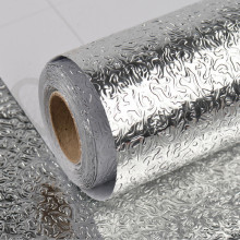 W 61CM Tin foil PVC Mould-Proof oil-Proof waterproof 3d wallpaper kitchen bathroom wall papers home decor self adhesive 5M/LOT купить недорого в Москве