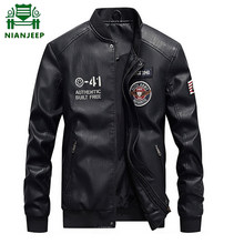 Casual Leather Jackets men black deri mont erkek Spring and Autumn Faux Jacket Slim Fit Coats Men baseball uniform Plus size 4XL(China)