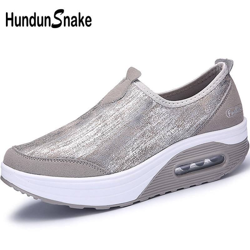 Hundunsnake Platform Women Running Shoes Air Cushion Women's Sports Shoes Grey Sport Shoes For Women Sneakers For Women Gym T266
