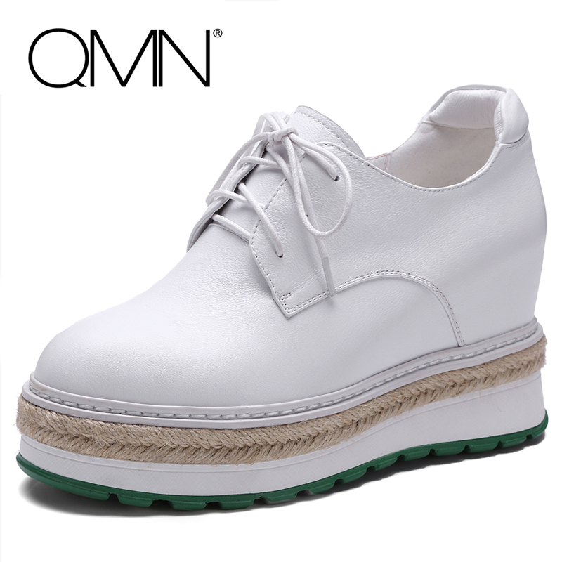 QMN women genuine leather platform flats Women Height Increasing Brogue Shoes Woman Espadrilles Creepers Plus Size 34-42 qmn women laser cut genuine leather platform flats women square toe height increasing brogue shoes woman flats creepers 34 39