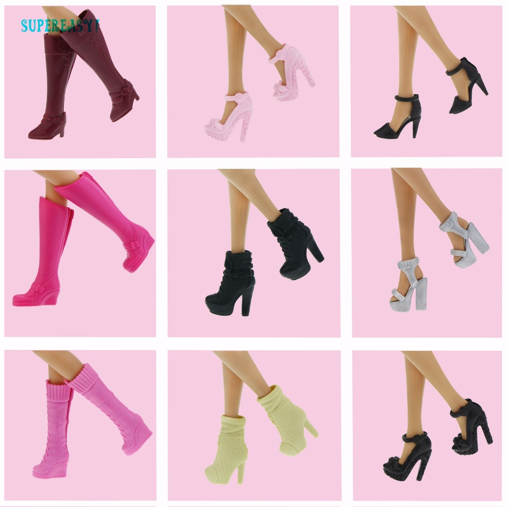 Random 20 Pcs / Lot High Quality Shoes Mixed Style Colorful Casual High Heels Cute Flat Sandal For Barbie Doll Accessories