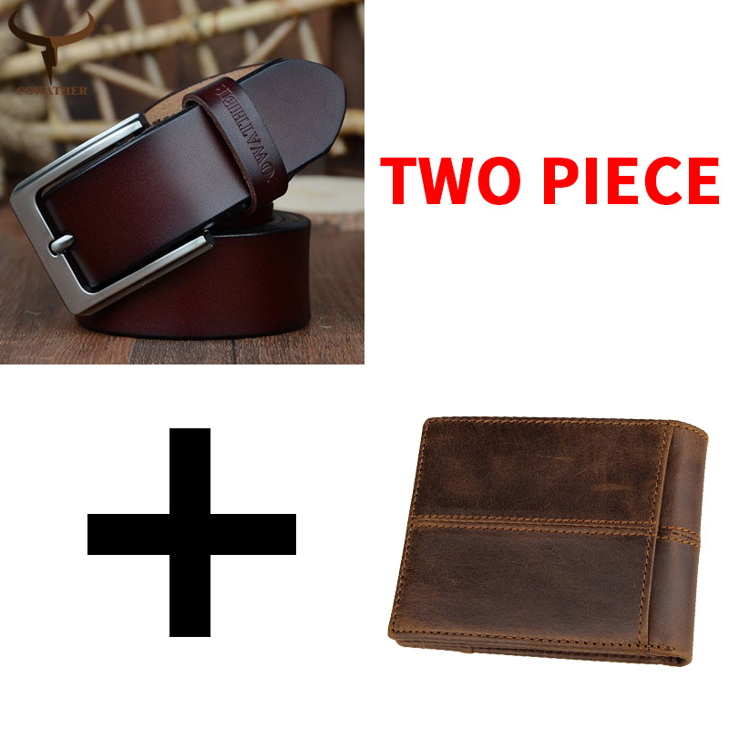 COWATHER Cow Genuine Leather Belt And Wallet For Men High Quality Fashion Male Strap And Purse Suit Cow Leather Free Shipping