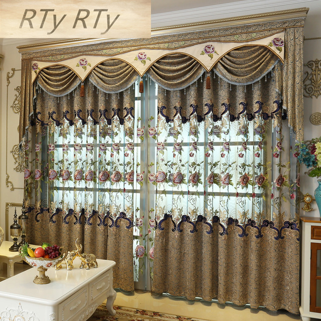 Beautiful Flowers Tulle Luxury Embroidered Valance Decoration Curtain For living Room Bedroom Window Treatment Drapes