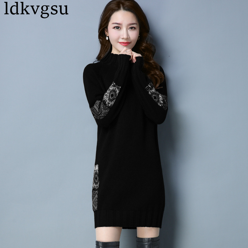 2019 Spring Autumn Turtleneck Long Knitted Sweater Dress Women Plus Size Cotton Slim Bodycon Dress Pullover Female A400-in Pullovers from Women's Clothing    1