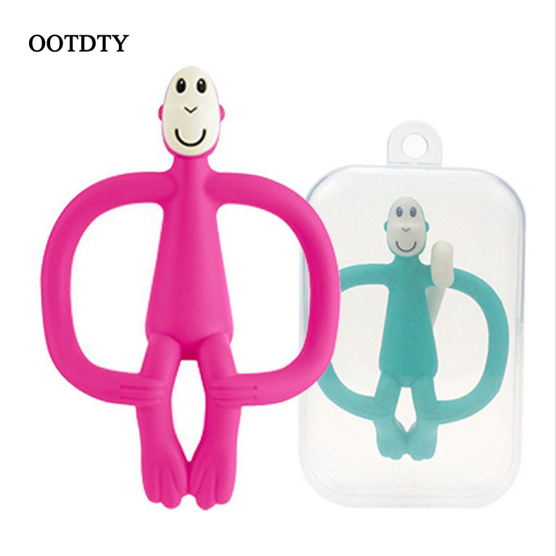 Soft Silicone Cartoon Monkey Toddler Molar Teeth Pain Relief Tool Kids Teether Educational Toy Baby Shower Gift
