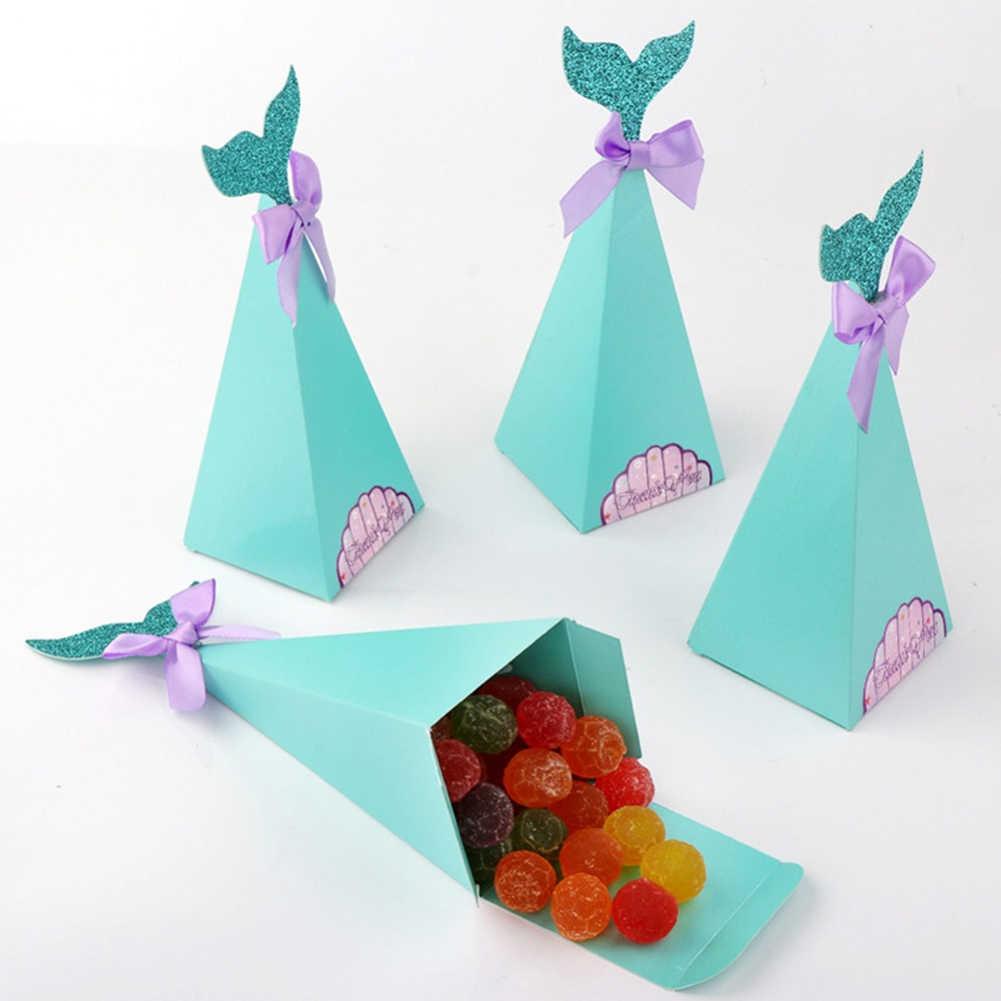 20 個クリエイティブ人魚の尾ちょう結び三角形ウェディングパーティーベビーシャワー用品キャンディ Diy 紙ボックス収納少年ガールホット