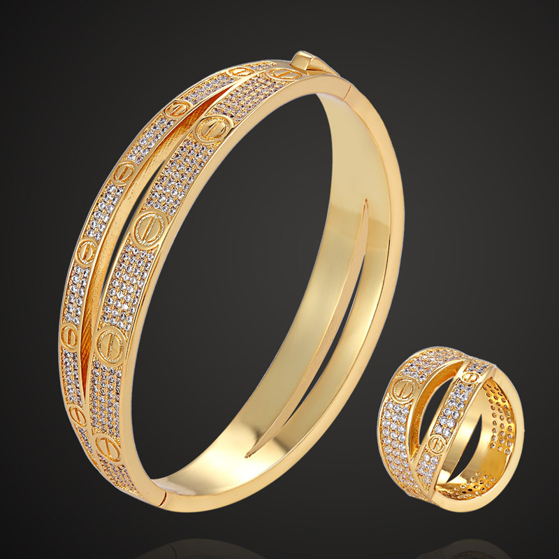 Zlxgirl jewelry Brand Copper bangle and ring jewelry sets Perfect cubic Zircom wedding Bridal jewelry sets Love Bangles&ring