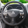 Hand-stitched Black Leather Steering Wheel Cover for Mitsubishi Lancer EX 10 Lancer X Outlander ASX Colt Pajero Sport