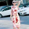 Primavera verano 2016 moda mujeres ' s sin mangas bordado borla dulce multicolor delgado del vestido de una sola pieza vestidos tubo