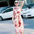 Spring Summer 2016 Fashion Women's Sleeveless Tassel Embroidered Sweet Multicolour Dress Slim One-piece Sheath dresses