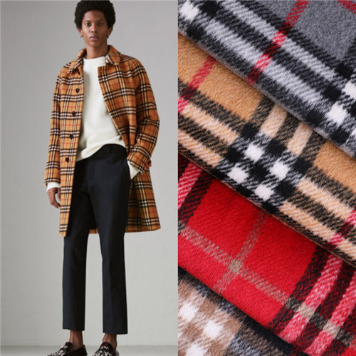 Autumn and winter new classic lattice woolen fabric blended coat scarf double-sided large material