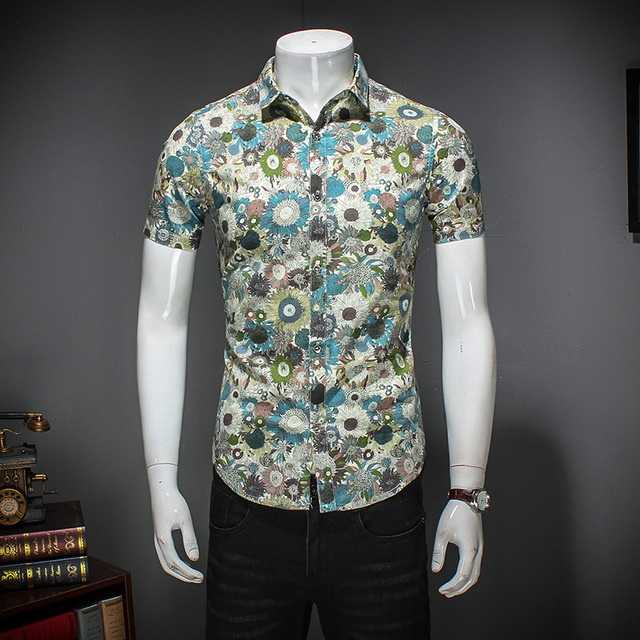 ff636056803c 2018 Men Floral Shirt Fashion Summer Short Sleeve Shirts For Men Turn Down  Collar Slim Fit Casual Mens Shirts Plus Size 5XL-M