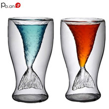 Mermaid Glass Wine Glasses Creative Shot Glass 2 Layer Wine Cup Handmade Blowing Glass Crystal Double Wall Bullet Glass Cup(China)