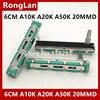 [BELLA]60MM 6cm çift A10K A10KX2 A20K A50K orijinal DJM400 500 600 800 mikser fader ses potansiyometre 20MM handle-10PCS