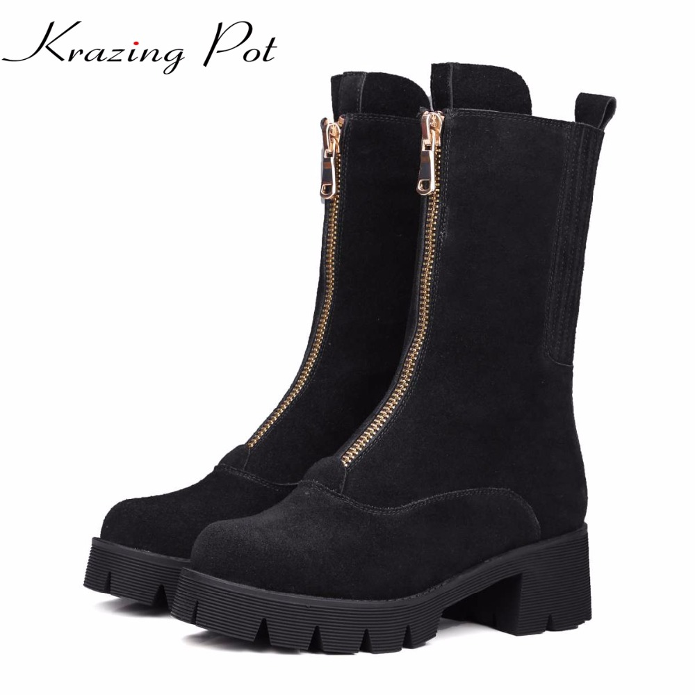 Krazing Pot cow suede new arrival zipper round toe med heels platform European boots superstar warm mid-calf riding boots L55 riding boots chunky heels platform faux pu leather round toe mid calf boots fashion cross straps 2017 new hot woman shoes
