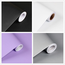 Rainqueen 3M Solid Color Wall Stickers Vinyl Self Adhesive Matte Wallpaper Rolls Kitchen Bedroom DIY Decoration