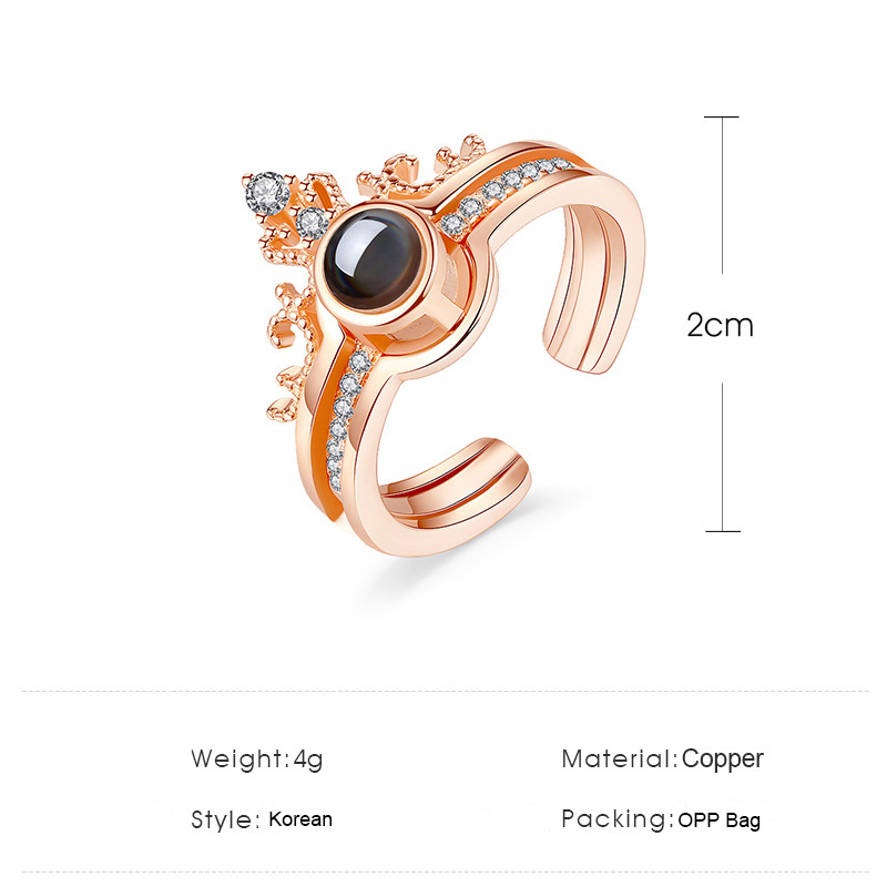 2019 Women 39 s Rose Gold Crystal Crown 100 languages I Love You Projection Wedding Party Ring Set Romantic Engagement Rings Gift in Rings from Jewelry amp Accessories