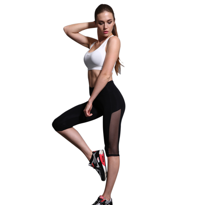 CALOFE 2017 Womens Sport Yoga Capri Pants Leggings Elastic Slim Fit Yoga Legging Women Running Pants Tights Fitness Gym Pants
