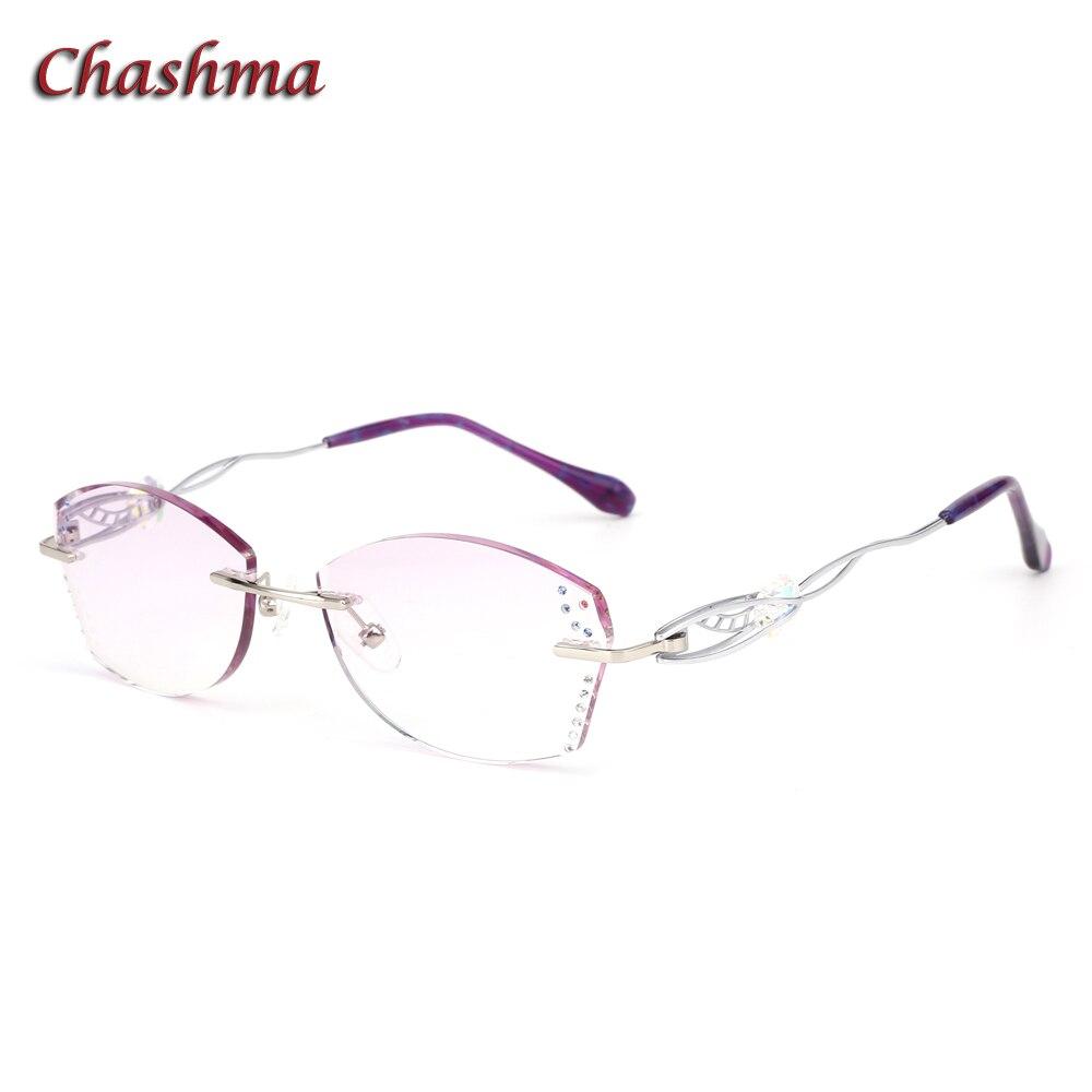 Chashma marque teinte lentille mode lunettes cadre lunette de vue femme sans monture titane lunettes femmes strass gris rouge lentilles