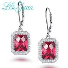 L& zuan S925 висячие серьги из серебра 925 пробы 7.92ct красный камень Романтические Роскошные серьги ювелирные украшения для женщин Рождественский подарок