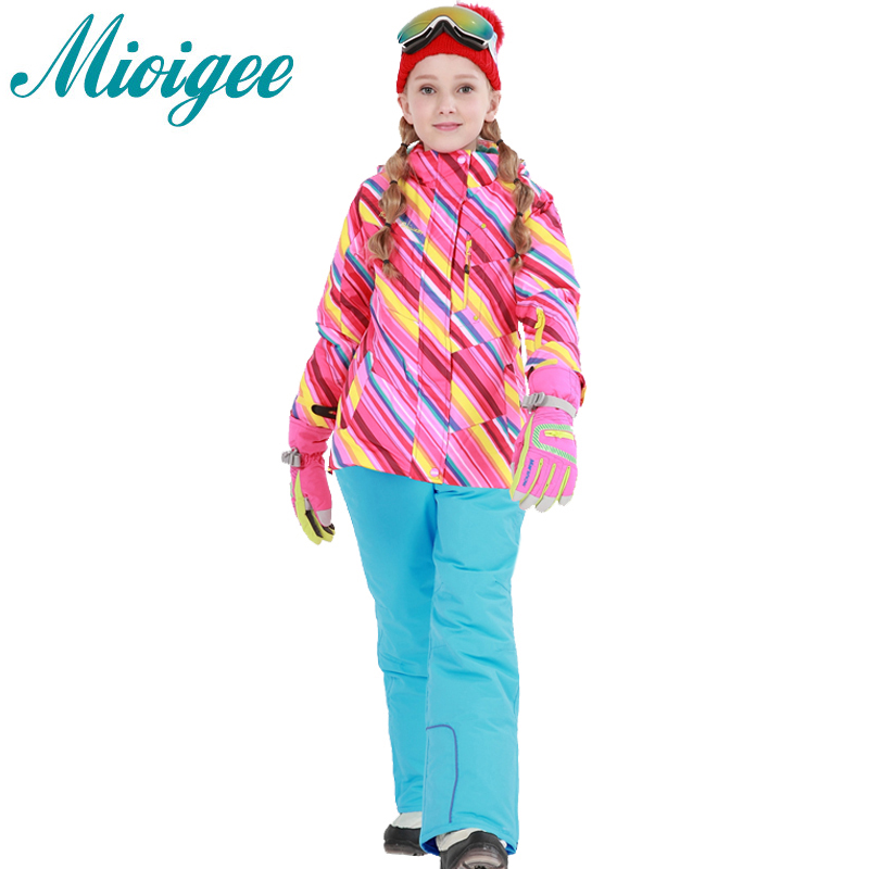 Mioigee 2017 Children Sets Tracksuit for girls Coat+Pants Winter Warm Waterproof Ski Suit kids clothing for 6-16T children sets girls winter sweater coat