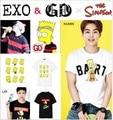Exo Xoxo Bigbang T-shirt de manga Curta-Rosnado Kris Luhan Sehun Kai Lay Xiumin T-shirt Kpop Novo