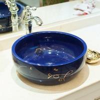 A1 Ceramic bathroom washbasin washbasin blue gold ribbon LO620204