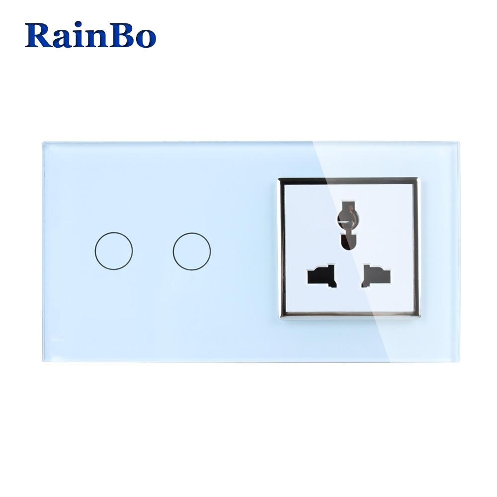 RainBo Luxury Touch Screen Control Tempered Crystal Glass Panel Wall Light Home Touch Switch Multi-function Socket  A29218MUCW/B аксессуар для игровой консоли rainbo накладки на стики для геймпада зенит