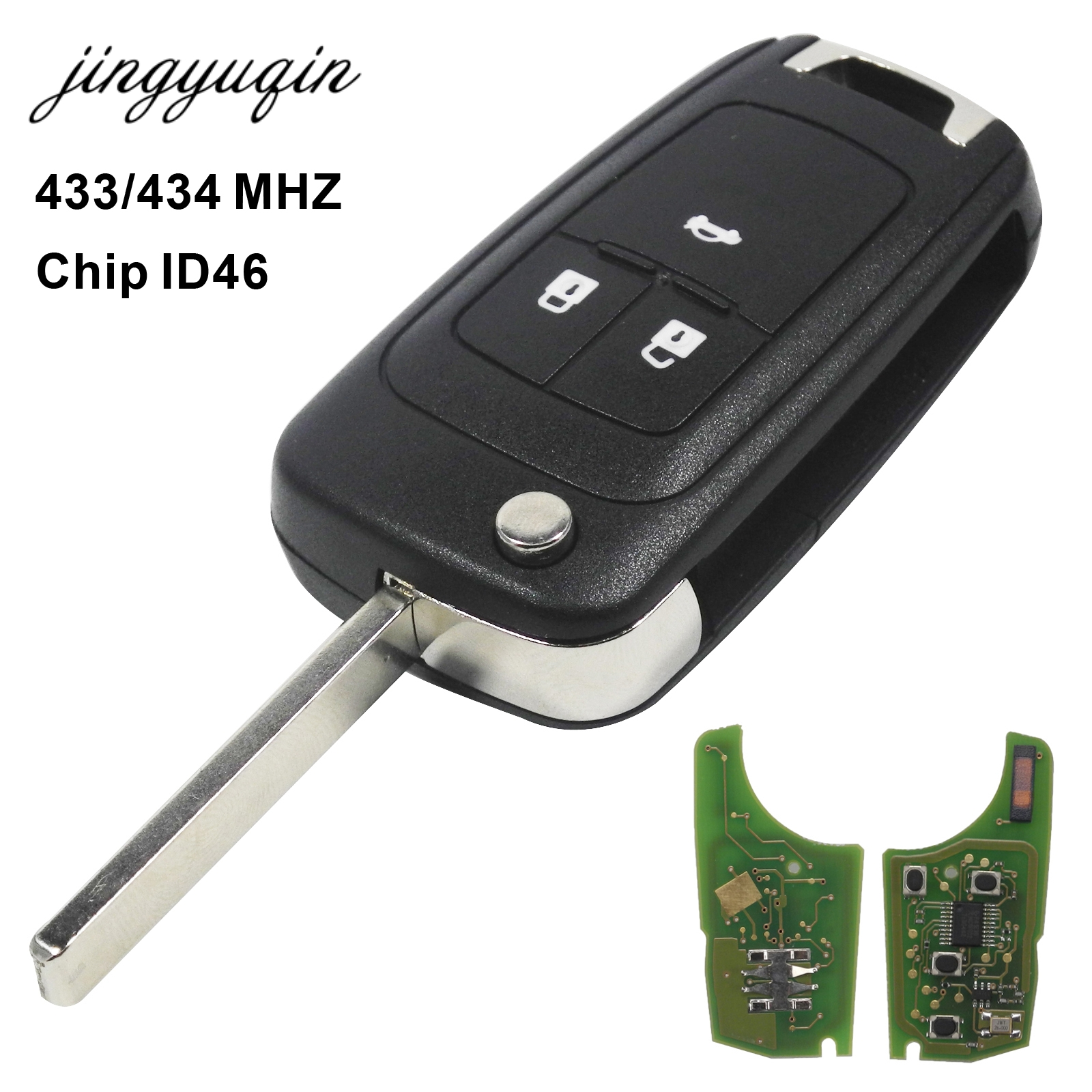 jingyuqin 433MHz ID46 Chip Remote Control Flip Key for Chevrolet Cruze Aveo Orlando 2010-2015 HU100 Blade 3 Button Keyless Fob