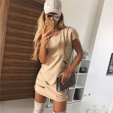 Yaz Seçimi Moda Delikler Kısa Kollu Mini Elbise Nedensel Bayanlar Seksi Elbiseler Vestidos