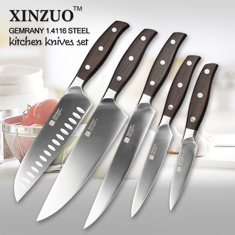 XINZUO Brand High Quality 3.5+5+7+8+8 Inch Paring Utility Santuko Cleaver Chef Knives German Stainless Steel Kitchen Knife Sets