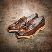 Britischen Stil Reine Farbe Graceful Gradienten Rindsleder Quaste Holz Slip Auf Männer Schuhe Herren Lederschuhe Herrenschuhe Casual