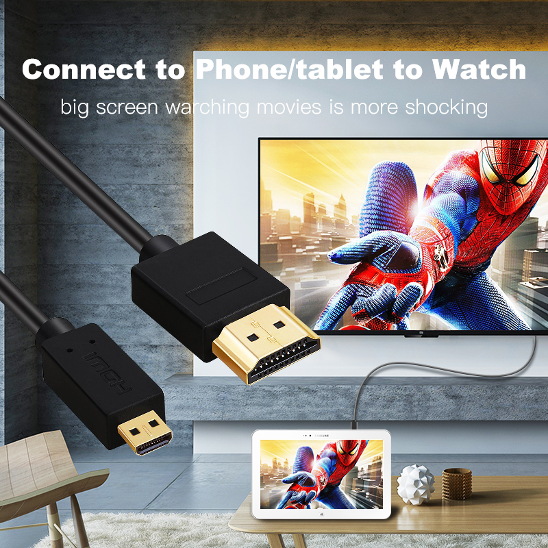 Image 4 - Micro HDMI to HDMI Cable Gold Plated 2.0 3D 4k 1080P high speed HDMI Cable Adapter for HDTV PS3 XBOX PC camera 1m 1.5m 2m 3m