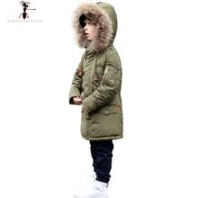 Winter Cool Boys Hood Fur Collar Black Army Red Long Down Coat  Parka Manteau Hiver  Kids  Roupas Infantis AM035