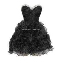 Echtballkleid schatz kristall strass perlen rüschen mini kurz maid of honor schwarz prom cocktail homecoming kleid 2017