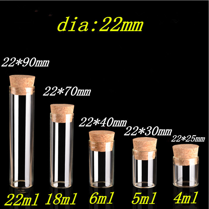 4ml Small Glass Vials Jars Test Tube With Cork Stopper Empty Glass Transparent Clear Bottles1