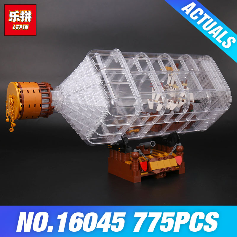 Lepin 16045 Creative Series The Ship in the Bottle Set Pirates of the Caribbean Model Building Blocks Bricks Toy Christmas Gift цена