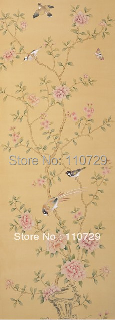 Hand-painted silk wallpaper painting Peony flower/birds hand painted wall paper wallcovering many pictures/backgrounds optional