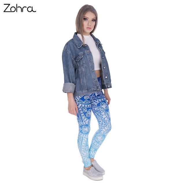 Zohra High Quality Women Legins Mandala Ombre Blue Printing Legging Fashion Casual High Waist Woman Leggings