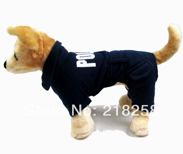 New Cute Dark blue English police Pet Dogs Coat Free Shipping By china post Dogs clothes