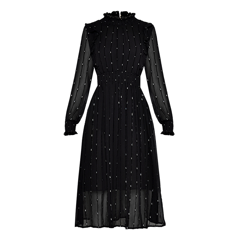 HIGH QUALITY Newest Fashion 2019 Designer Runway Dress Women s Long Sleeve Dot Chiffon Dress