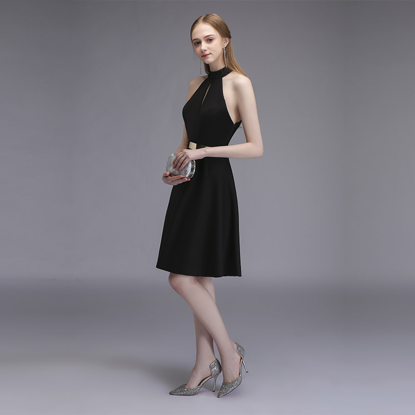 Sexy Little Black Short Cocktail Dresses Halter Satin Knee Length Women Party Dress 3