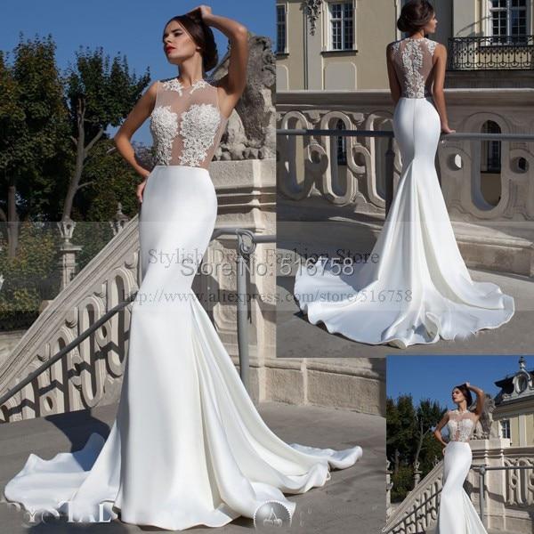 Free Shipping Custom Made Bridal Gowns Beaded Long Train Sheer Top ...